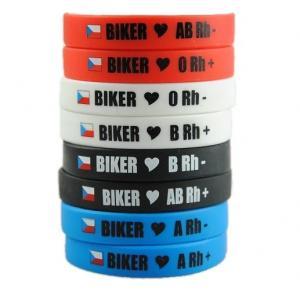 Moto náramek Biker s krevní skupinou 0 RH+