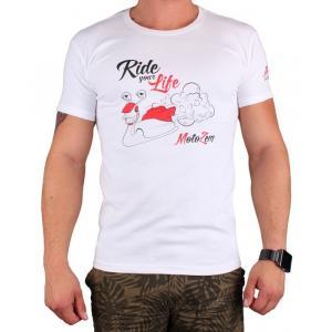 Triko s motivem Motozem Ride your life bílé