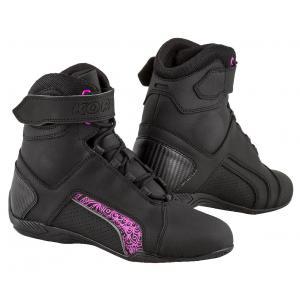 Dámské boty na motorku Kore Velcro 2.0 černo-fialové