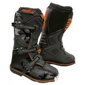 Dětské boty na motorku Shot K10 2.0 černo-camo-fluo oranžové