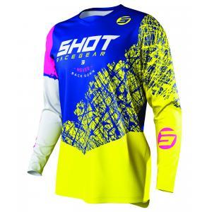 Dětský motokrosový dres Shot Devo Storm modro-žluto-bílo-růžový