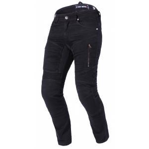 Prodloužené jeansy na motorku Street Racer Stretch II CE černé