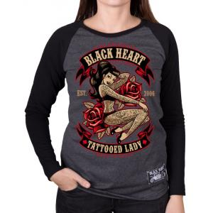 Dámské triko Black Heart Tattooed Lady černo-šedé