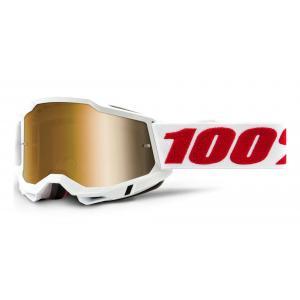 Motokrosové brýle 100% ACCURI 2 bílé (zlaté plexi)