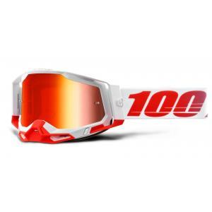 Motokrosové brýle 100% RACECRAFT 2 bílo-červené (červené zrcadlové plexi)