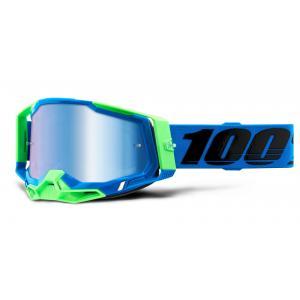 Motokrosové brýle 100% RACECRAFT 2 modro-zelené (modré zrcadlové plexi)
