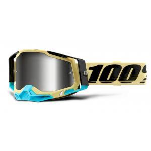 Motokrosové brýle 100% RACECRAFT 2 žluté (stříbrné zrcadlové plexi)