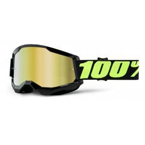 Motokrosové brýle 100% STRATA 2 černé (zlaté zrcadlové plexi)