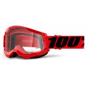 Motokrosové brýle 100% STRATA 2 červené (čiré plexi)