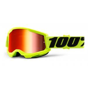 Motokrosové brýle 100% STRATA 2 fluo žluté (červené zrcadlové plexi)
