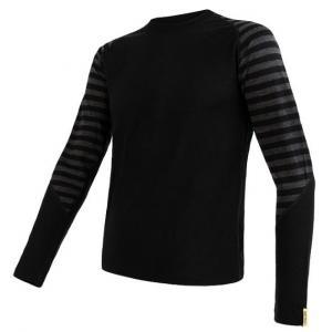 Pánské funkční tričko Sensor Merino Active černo-šedé - dlouhý rukáv