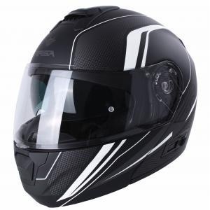 Vyklápěcí přilba na motorku RSA Rival černo-šedo-bílá