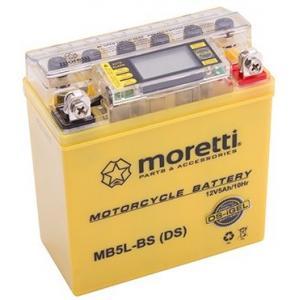 Bezúdržbová gelová baterie  Moretti  MB5L-BS, 12V 5Ah s měřičem napětí