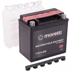Bezúdržbová motocyklová baterie Moretti MTX14-BS, 12V 12Ah