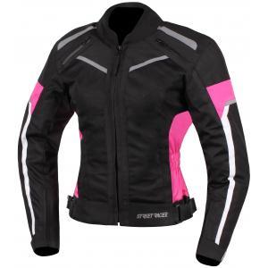 Dámská bunda na motorku Street Racer Betty černo-bílo-růžová