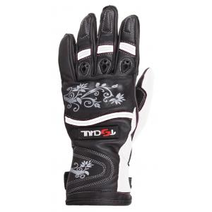 Dámské rukavice na motorku Tschul 301 černo-bílé