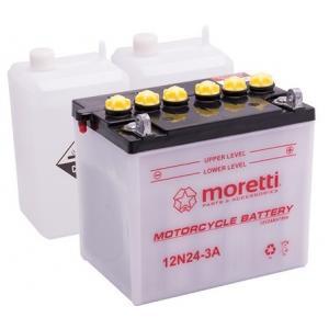 Konvenční motocyklová baterie Moretti 12N24-3A, 12V 24Ah výprodej