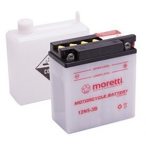 Konvenční motocyklová baterie Moretti 12N5-3B, 12V 5Ah