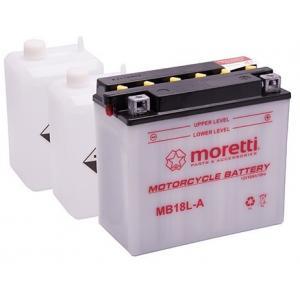 Konvenční motocyklová baterie Moretti MB18L-A, 12V 18Ah