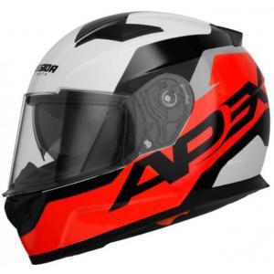 Přilba na motorku Cassida Apex Contrast černo-bílo-šedo-fluo červená