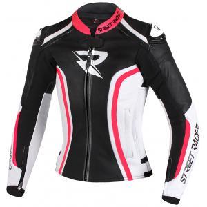Dámská bunda na motorku Street Racer Electra černo-bílo-fluo růžová výprodej