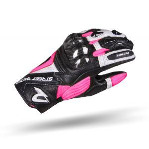 Dámské rukavice na motorku Street Racer XTR černo-bílo-růžové
