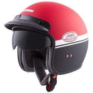 Otevřená přilba na motorku Cassida Oxygen Jawa OHC červeno-černo-bílá