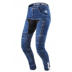 Dámské jeansy na motorku Street Racer Stretch modré výprodej