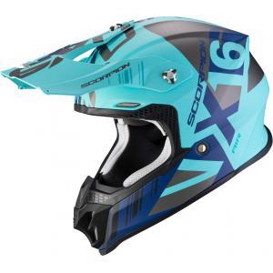 Motokrosová přilba Scorpion VX-16 Air Mach stříbrno-modro-tyrkysová
