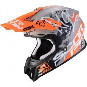 Motokrosová přilba Scorpion VX-16 Air Oratio šedo-oranžová