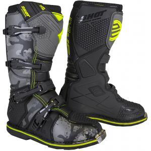 Boty na motorku Shot X10 2.0 černo-camo-fluo žluté