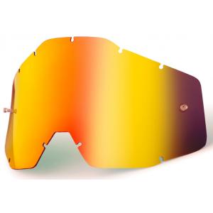 Červené chrom plexi pro motokrosové brýle 100% Racecraft/Accuri/Strata
