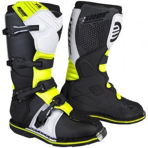 Dětské boty na motorku Shot K10 2.0 černo-bílo-fluo žluté