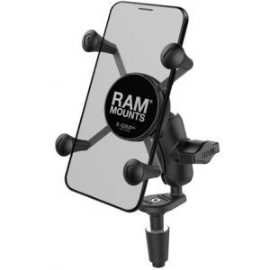 Držák mobilního telefonu RAM Mounts X-Grips uchycením do krku řízení motocyklu