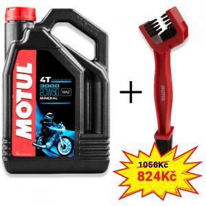 Sada olej 3000 20W-50 4L+ kartáč na čištění řetězu Motul