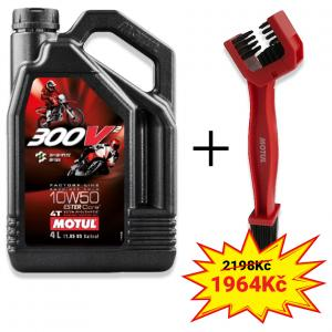 Sada olej 300V² 4T FL Road/Off Road 10W50 4L+ kartáč na čištění řetězu Motul
