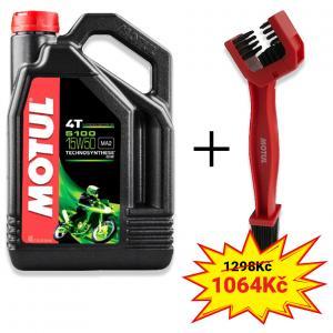 Sada olej 5100 Ester 15W-50 4L+ kartáč na čištění řetězu Motul