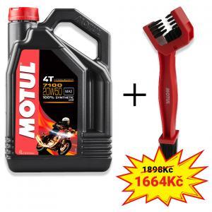 Sada olej 7100 20W-50 4L+ kartáč na čištění řetězu Motul