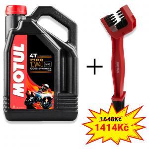 Sada olej 7100 4T 10W-40 4L+ kartáč na čištění řetězu Motul