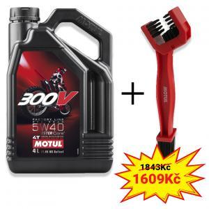Sada olej 300V 4T FL Off Road 5W40 4L+ kartáč na čištění řetězu Motul