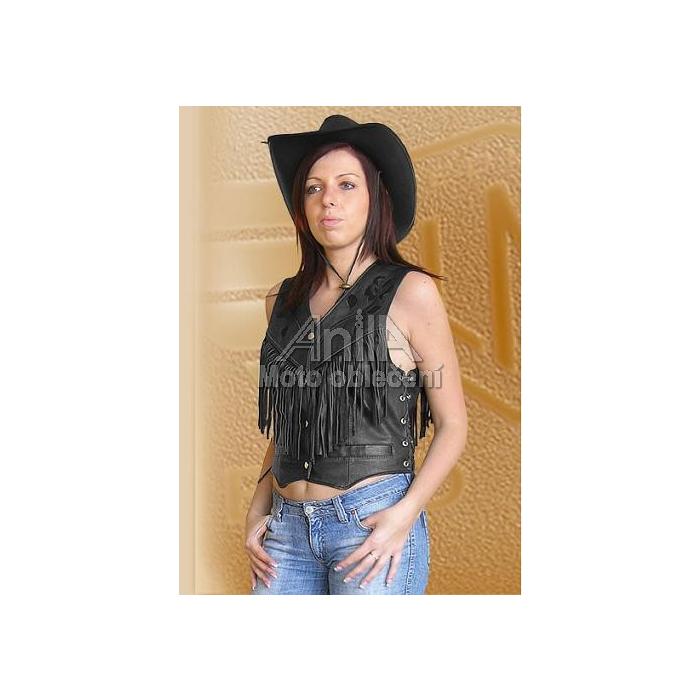 Dámská kožená vesta s třásněmi Ledmar-M-04