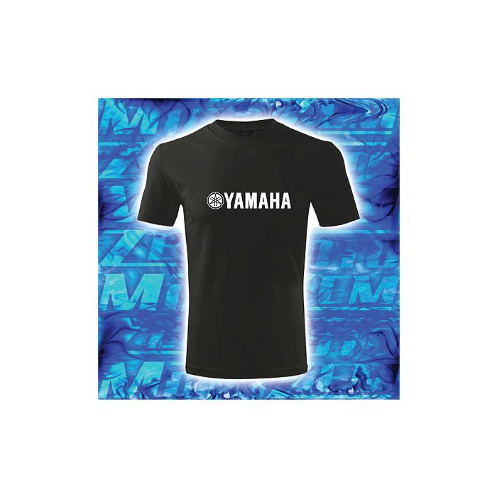Triko s motivem Yamaha černé s bílým potiskem