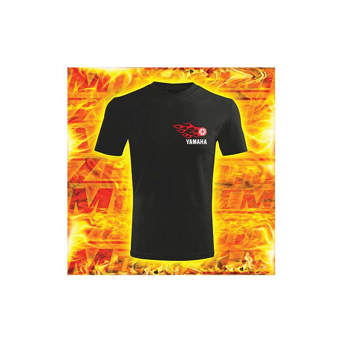 Triko s motivem Yamaha černé s plameny