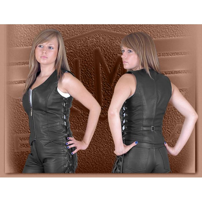 Dámská kožená vesta Ledmar-M-05 se šněrováním