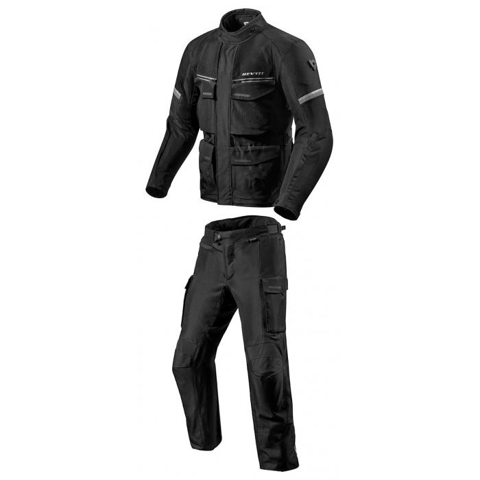 Pánská kombinéza na motorku Revit Outback 3 černo-stříbrná