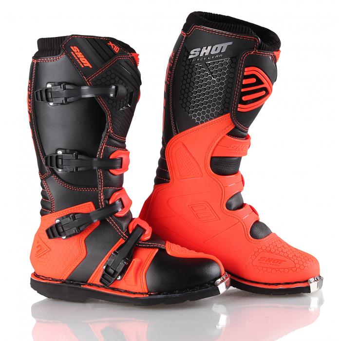 Boty na motorku Shot X10 černo-fluo oranžové