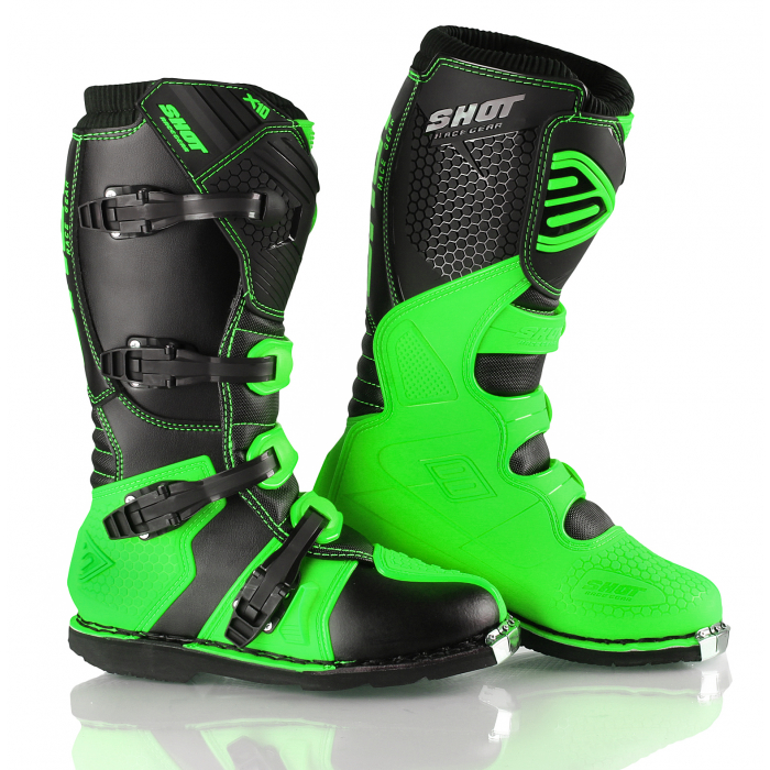 Boty na motorku Shot X10 černo-fluo zelené