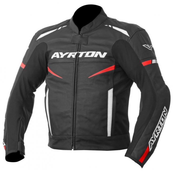 Bunda na motorku Ayrton Raptor černo-bílo-fluo červená výprodej