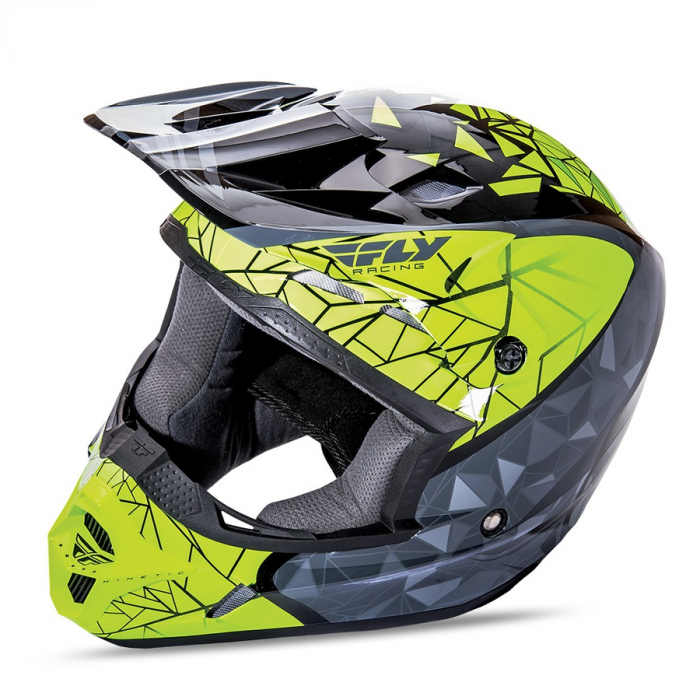 Motokrosová přilba FLY Racing Kinetic CRUX - USA fluo žluto-šedo-černá - II. jakost
