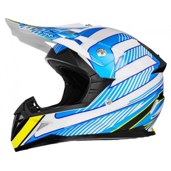 Motokrosová přilba ZED X1.9D bílo-modro-žluto-černá výprodej